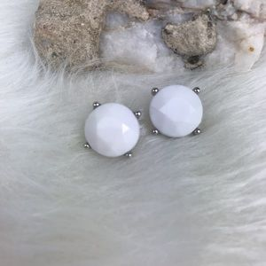 White Circle Silver Color Accent Costume Earrings